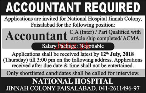 Accountant Job in National Hospital Jinnah Colony