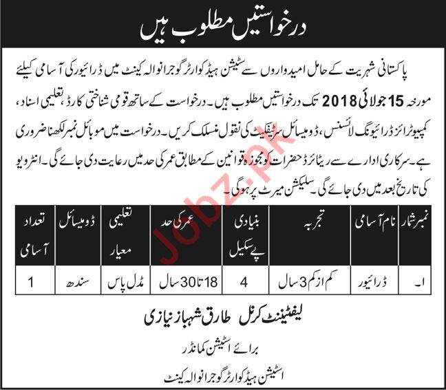 Station Headquarter Gujranwala Cantt Jobs 2018 for Driver
