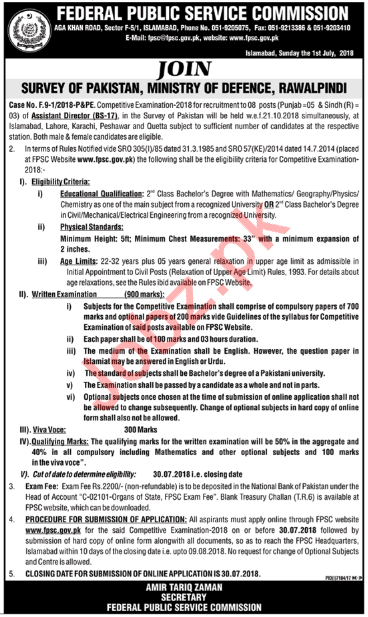 FPSC Ministry of Defence Rawalpindi Jobs 2018 for Director
