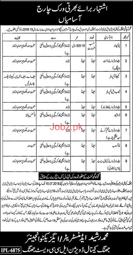 Irrigation Department Jhang Canal Division LLC Jobs