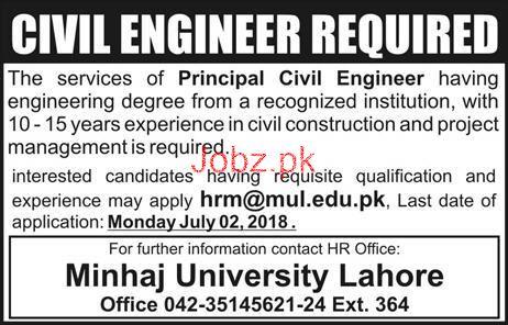 Minhaj University Lahore Principal Civil Engineers Jobs