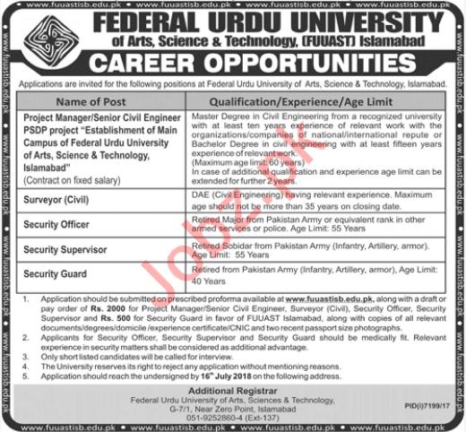 Federal Urdu University Islamabad Non Teaching Jobs 2018