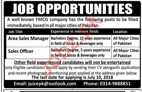 Area Sales Manager & Sales Officer Jobs 2018