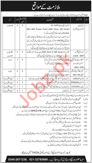 602 Regional Workshop EME Karachi Jobs for LDC, USM & UDC