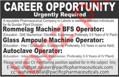 Autoclave Operator & Glass Ampoule Machine Operator Jobs