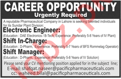 Electronic Engineer, Shift Incharge & Shift Manager Jobs