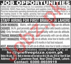 Cashier, Trainee Managers, Shift Managers & Crew Member Jobs