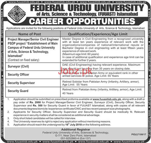 Federal Urdu University  FUUAST Engineers  Jobs