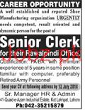 Senior Clerks Job in Well Established Company