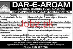 Dar e Arqam School  Bahria Town Campus Teaching Jobs