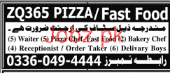 Waiters, Pizza Chef Fast Food, Bakery Chef Job Opportunity