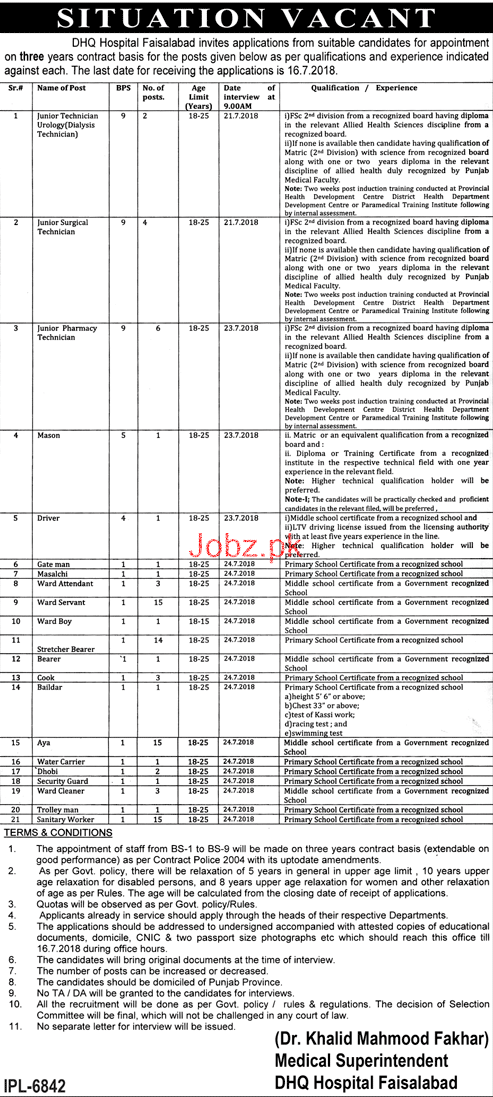 District Headquarter Hospital DHQ Faisalabad Jobs