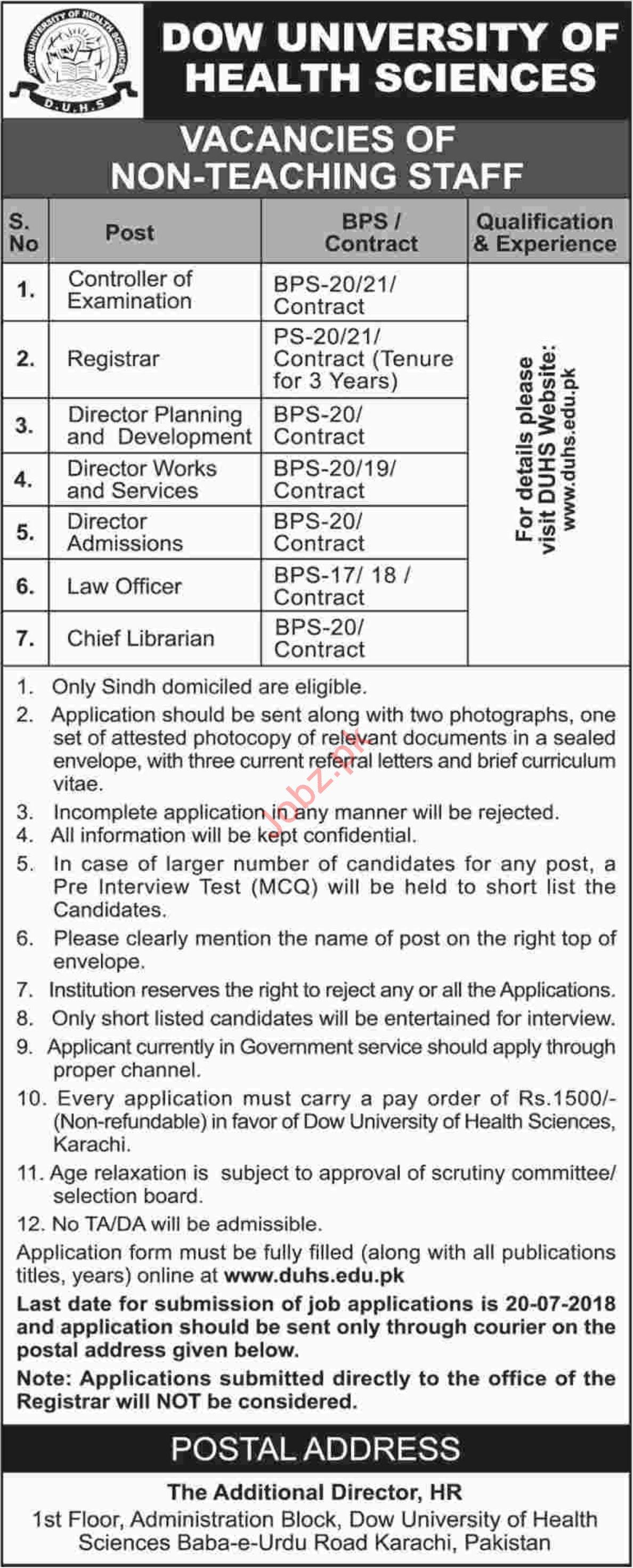 Dow University of Health Sciences Karachi Jobs 2018