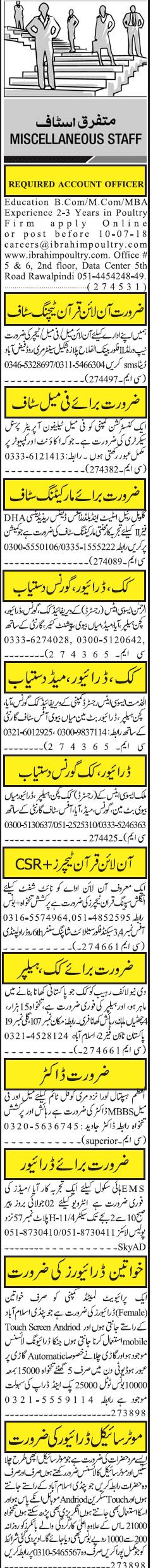 Accountant, Online Quran Teachers Job Opportunity