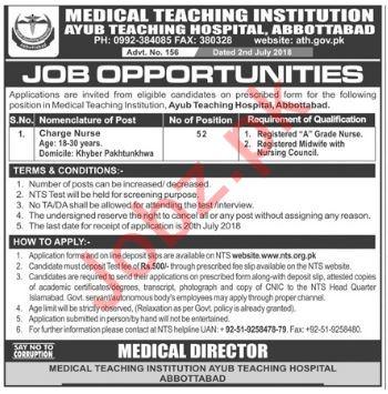 Ayub Teaching Hospital ATH Abbottabad Jobs 2018 for Nurses