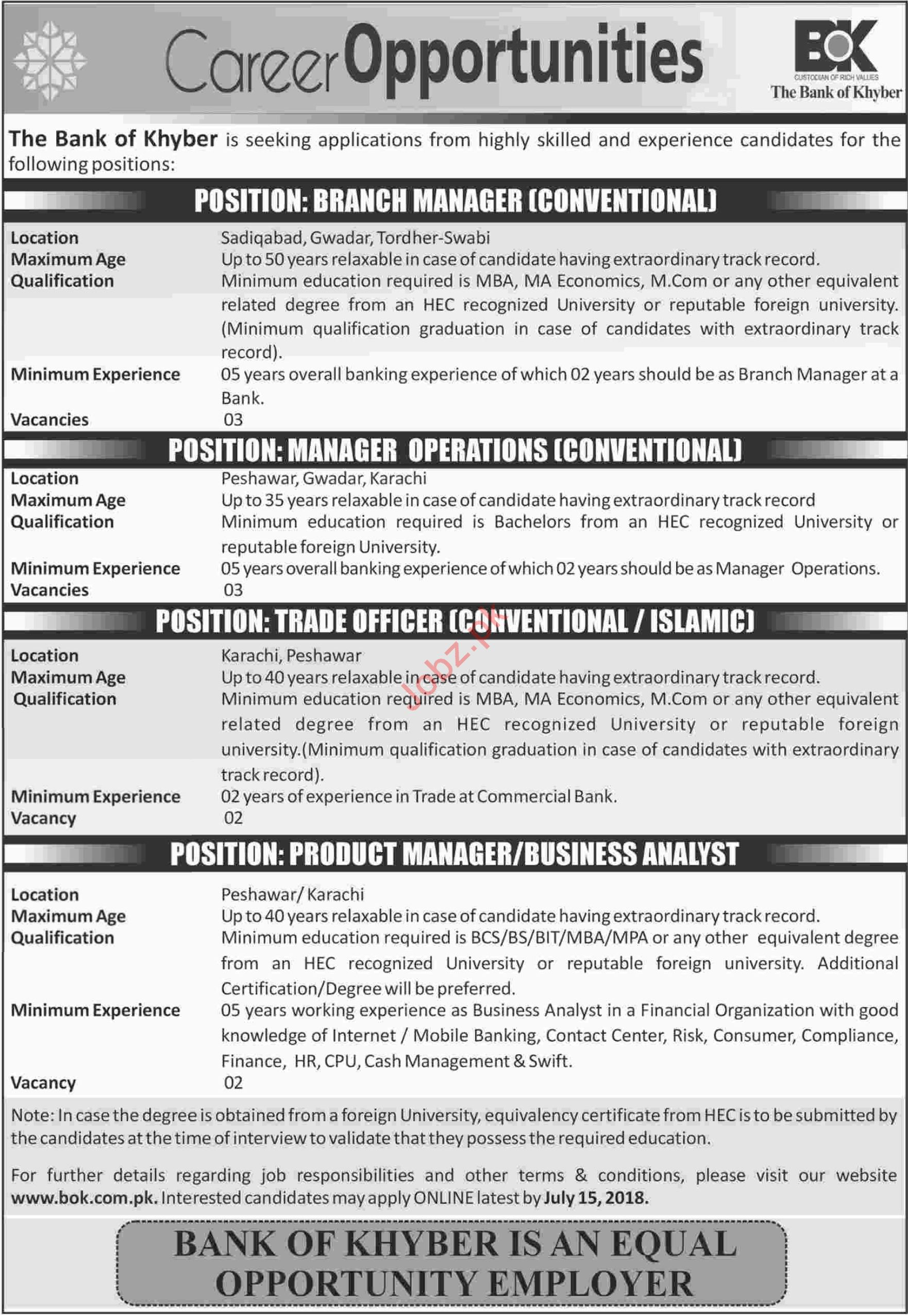 The Bank of Khyber BOK Karachi Jobs 2018 for Managers