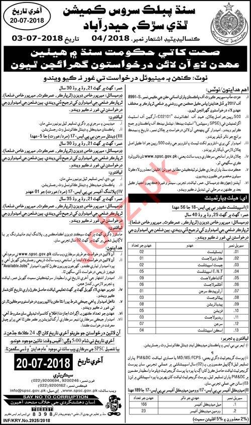 Sindh Public Service Commission SPSC Hyderabad Jobs 2018