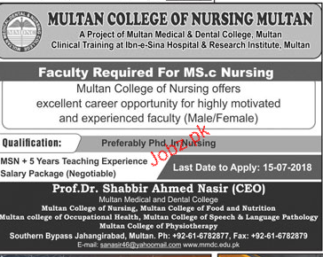 Multan College of Nursing Multan MCNM Jobs