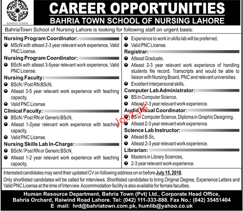 Bahria Town School of Nursing Lahore Jobs