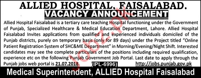 Allied Hospital Faisalabad Jobs 2018 for Doctors & Nurses