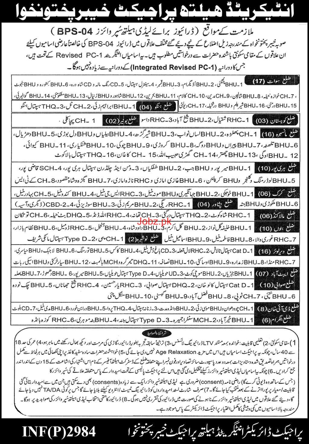Integrated  Health Project KPK LTV Drivers Jobs