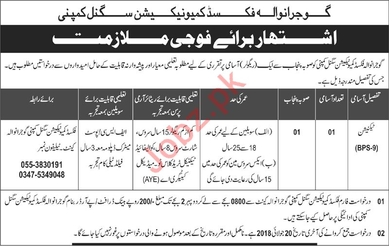 Pak Army Fixed Communication Signal Company Gujranwala Jobs