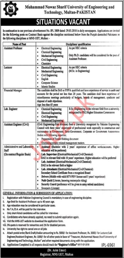 MNS UET Multan Jobs 2018 for Professors, Manager & Engineer