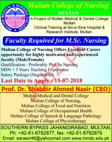 Multan College of Nursing MMDC Jobs 2018