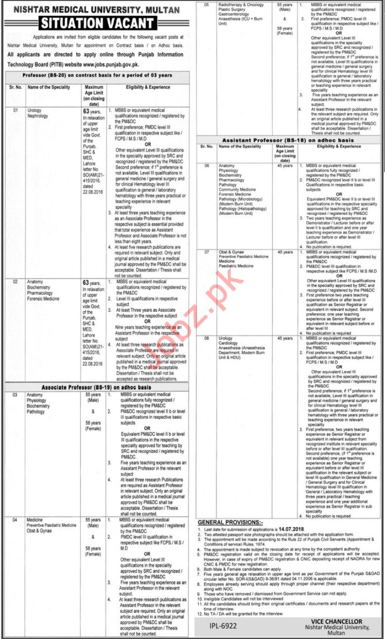 Nishtar Medical University Multan Jobs 2018 for Specialist