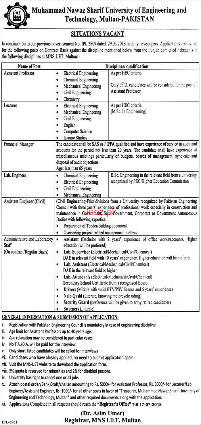 University of Engineering & Tech Multan Teaching Jobs