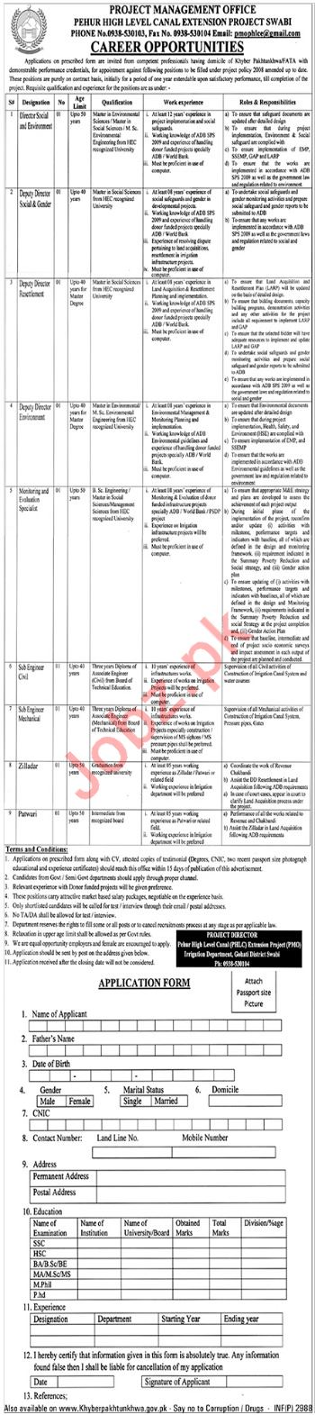 Pehur High Level Canal Extension Project Swat Jobs 2018