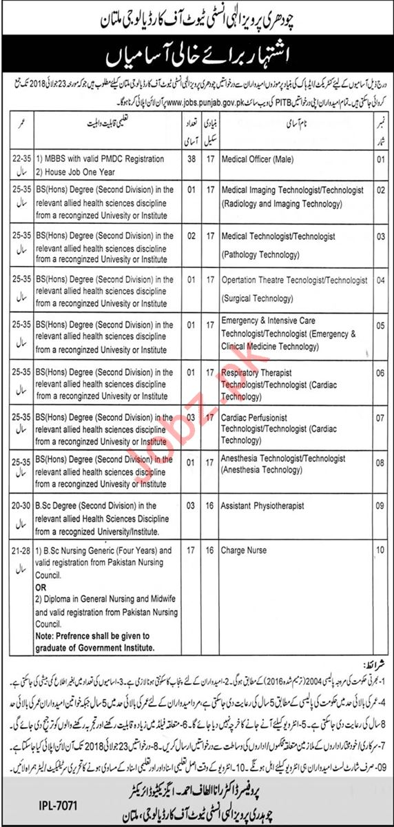 CPEIC Institute of Cardiology Multan Jobs 2018 for Doctors