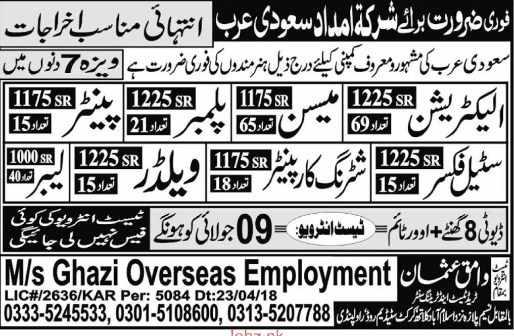 Electricians, Plumbers, Mason, Steel Fixers Job Opportunity