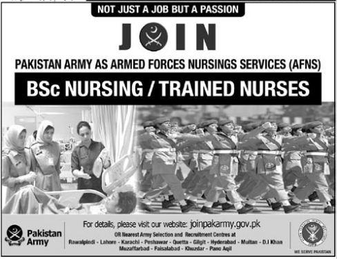 Join Pakistan Army as Armed Forces Nursing Services AFNS
