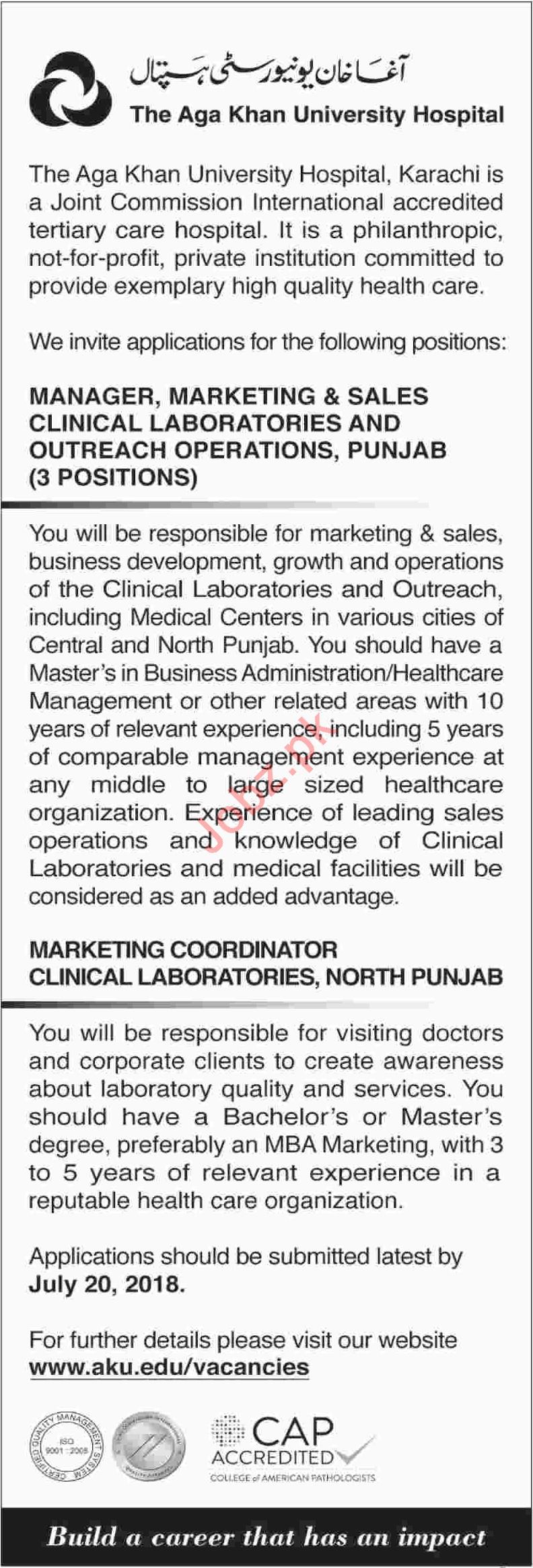 Aga Khan University Hospital AKU Karachi Jobs 2018