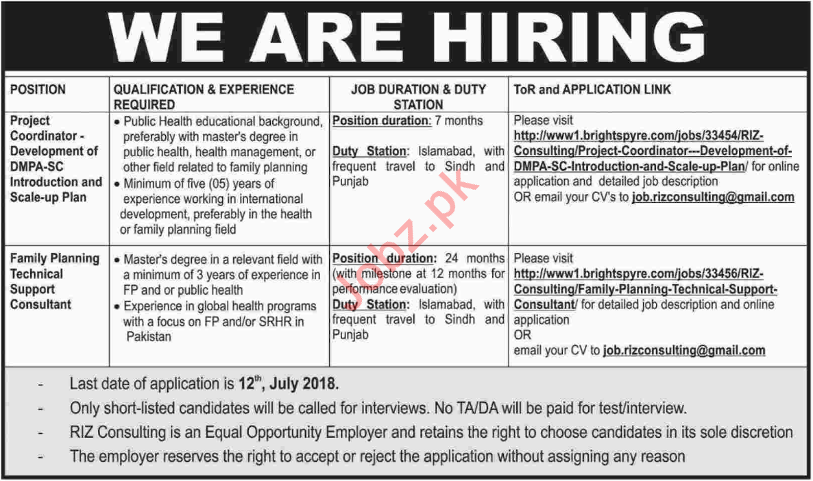 Project Coordinator & Family Planning Consultant Jobs 2018