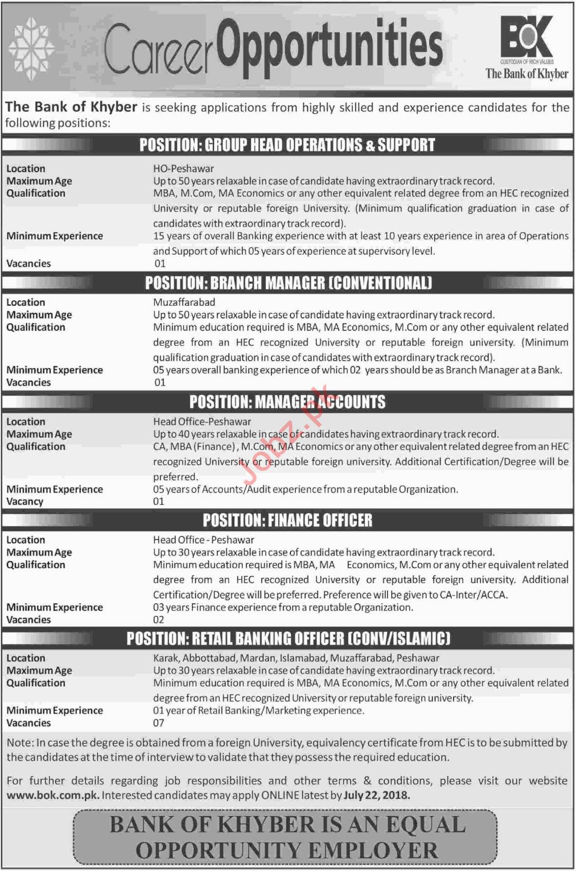 The Bank of Khyber BOK Peshawar Head of Operations Jobs 2018