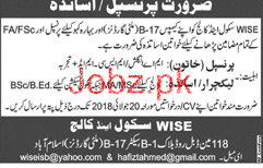 Female Principal Job in WISE School and College