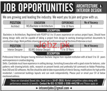 Architects And Interior Designers Job Opportunity 2020 Job Advertisement Pakistan
