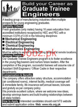 Graduate Trainee Engineers Job in A Leading Group of Industr