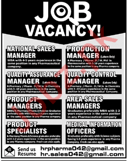 Production Manager & Quality Assurance Manager Jobs 2018