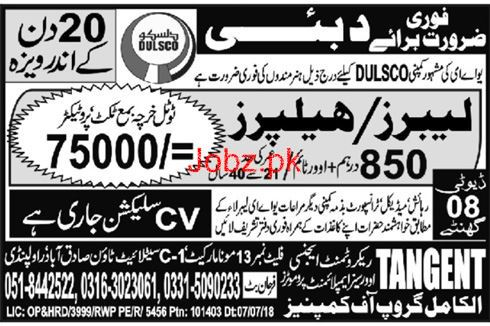 Labors / Helpers Job in Famous Company Dubai