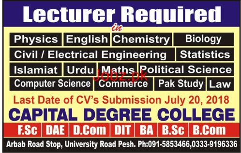 Capital Degree College Lecturers Jobs