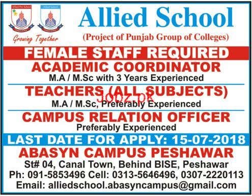 Allied School Abasyn Campus Peshawar Jobs