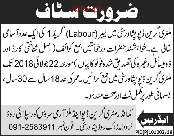 Military Green Depot Peshawar City Labors Jobs