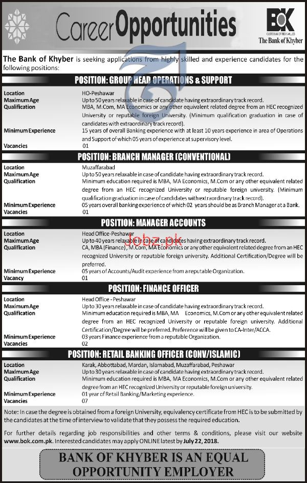 The Bank of Khyber BOK  Branch Manager  Jobs
