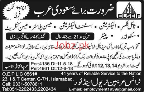Tile Fixers, Electricians, Mason Plasters Job Opportunity