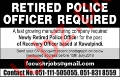 Retired Police Officer Jobs 2018 in Lahore