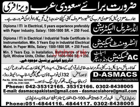 Industrial Electricians, Instrument Technicians Wanted