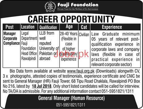 Fauji Foundation Head Office Rawalpindi Jobs 2018
